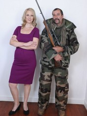 Samantha Brick, 'trophy wife' and her husband. With a gun.