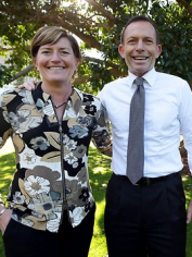 Tony Abbott with his sister, Christine Forster