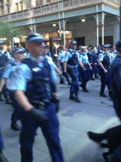 Police at the scene of the protests