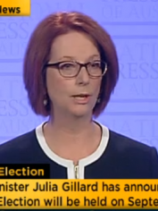 Julia Gillard making the announcement