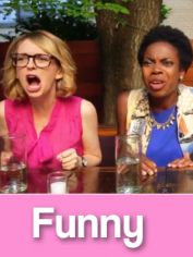 Excited women scream