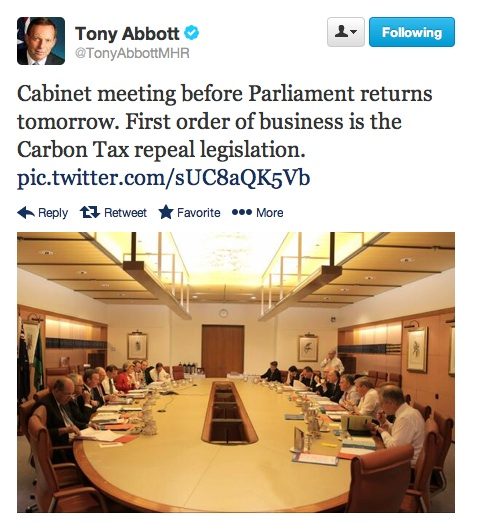 Australia's 44th Parliament: The PM's cabinet meeting tweet