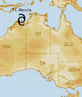 Cyclone Alessia headed for the NT coast (via BOM)