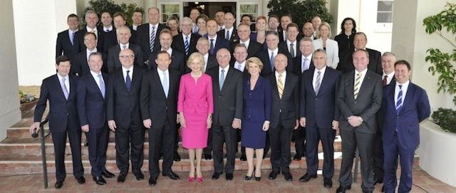 Australia's 44th Parliament: The very male dominated Abbott Ministry