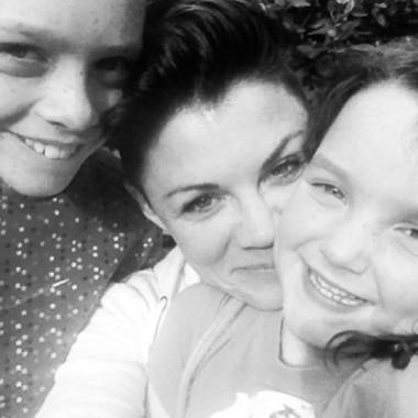 Em with her kids