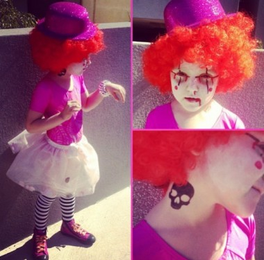 """Em Instagrammed this pic: """"Washing done? not always. Healthy dinners? Sometimes. Tupperware? Nope. Getting my kids ready for a costume party? Hell yes! Odette is a dandy clown with the ebola virus!"""""""